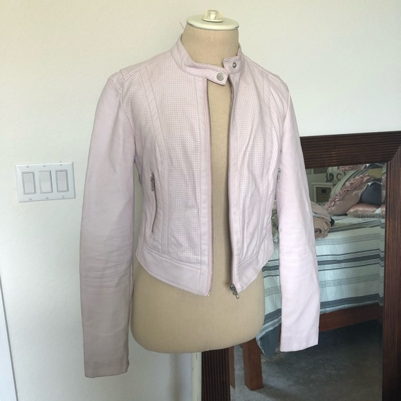 Guess Jackets & Blazers - Guess light pink cropped leather jacket